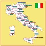 Carte de l'Italie avec des régions italiennes Image libre de droits
