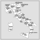 Carte de l'Italie avec des régions italiennes Photographie stock libre de droits