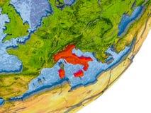 Carte de l'Italie sur terre Image stock