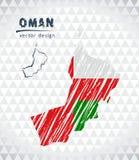 Carte de l'Oman avec la carte tirée par la main de stylo de croquis à l'intérieur Illustration de vecteur illustration libre de droits