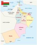 Carte de l'Oman avec le drapeau illustration stock