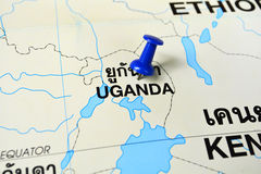 Carte de l'Ouganda Images stock