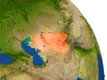 Carte de l'Ouzbékistan en rouge illustration libre de droits