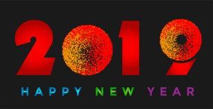 Carte de la bonne année 2019 et icône de salutation colorée de conception des textes sur le fond noir illustration de vecteur