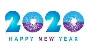 Carte de la bonne année 2020 et salutation de la conception des textes dans bleu et pourpre colorés sur le fond blanc illustration de vecteur
