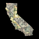 Carte de la Californie avec des dollars Image stock