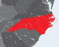 Carte de la Caroline du Nord avec des lacs et des rivières illustration de vecteur