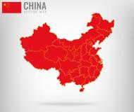 Carte de la Chine avec les frontières d'or Vecteur Photos libres de droits