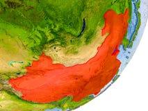 Carte de la Chine sur terre Images stock