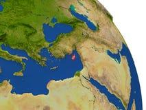 Carte de la Chypre en rouge illustration de vecteur