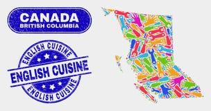 Carte de la Colombie-Britannique d'usine et joints anglais grunges de cuisine illustration de vecteur
