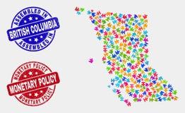 Carte de la Colombie-Britannique de module et rayé joints de politique monétaire assemblée et illustration de vecteur
