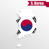 Carte de la Corée du Sud avec l'intérieur et le ruban de drapeau illustration libre de droits