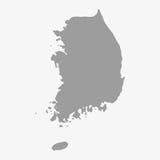 Carte de la Corée du Sud dans le gris sur un fond blanc illustration stock