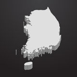 Carte de la Corée du Sud dans le gris sur un fond noir 3d illustration de vecteur