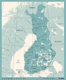 Carte de la Finlande - illustration détaillée de vecteur de vintage Images stock