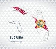 Carte de la Floride avec la carte tirée par la main de stylo de croquis à l'intérieur Illustration de vecteur Photo libre de droits