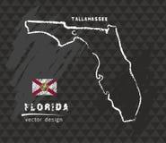 Carte de la Floride, dessin de stylo de vecteur sur le fond noir Photos libres de droits