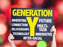 Carte de la génération Y avec le fond de bokeh photos stock