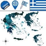 Carte de la Grèce avec des régions appelées Photo stock