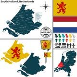 Carte de la Hollande-Méridionale, Pays-Bas Images libres de droits