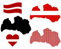 Carte de la Lettonie Photos stock