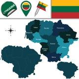 Carte de la Lithuanie avec les comtés appelés Image libre de droits