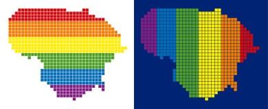 Carte de la Lithuanie pointillée par pixel de spectre illustration de vecteur