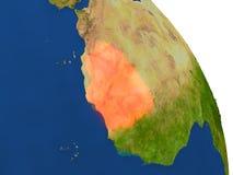 Carte de la Mauritanie en rouge illustration libre de droits