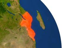 Carte de la Mozambique en rouge illustration stock