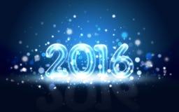 Carte de la nouvelle année 2016 avec les chiffres au néon image libre de droits