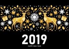 Carte de la nouvelle année 2019 sur le fond noir avec le modèle d'or illustration stock