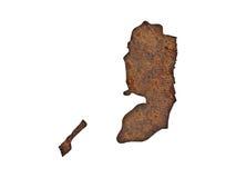 Carte de la Palestine sur le métal rouillé Photo libre de droits