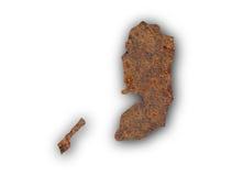 Carte de la Palestine sur le métal rouillé Images libres de droits
