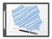 Carte de la Pologne de planchette Image stock