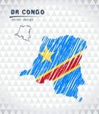 Carte de la République démocratique du Congo avec la carte tirée par la main de stylo de croquis à l'intérieur Illustration de ve illustration stock