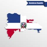 Carte de la République Dominicaine avec l'intérieur et le ruban de drapeau illustration stock