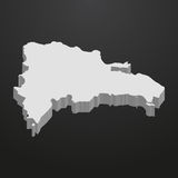 Carte de la République Dominicaine dans le gris sur un fond noir 3d illustration libre de droits