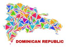 Carte de la République Dominicaine - mosaïque des triangles de couleur illustration stock