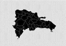 Carte de la République Dominicaine - carte noire détaillée de haute avec des comtés/régions/états de la République Dominicaine  C illustration libre de droits