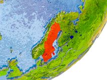 Carte de la Suède sur terre Image stock