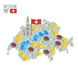 Carte de la Suisse Attraction de cathédrale de Berne illustration stock
