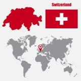 Carte de la Suisse sur une carte du monde avec l'indicateur de drapeau et de carte Illustration de vecteur illustration libre de droits