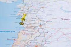 Carte de la Syrie avec le tsvaeta de routes rouge et marqué avec une goupille dans le Se Photo libre de droits