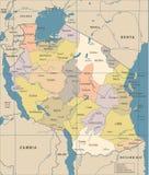 Carte de la Tanzanie - illustration de vecteur de vintage Photos stock
