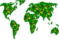 Carte de la terre avec des fruits Images libres de droits