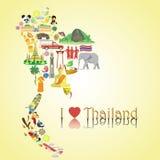 Carte de la Thaïlande Icônes et symboles thaïlandais de vecteur de couleur sous la forme de carte Photographie stock