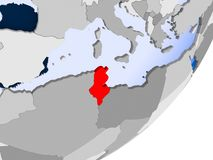 Carte de la Tunisie Photographie stock