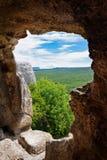Carte de la ville antique de caverne d'Eski-Kermen, Crimée, Russie Photographie stock