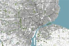 Carte de la ville de Detroit, Michigan, Etats-Unis illustration stock